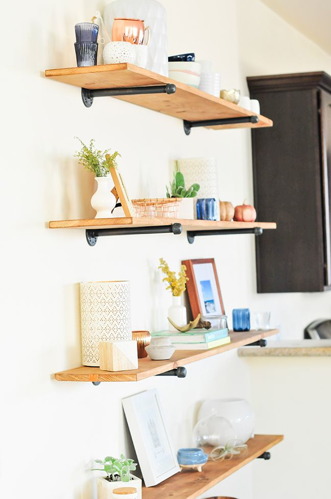 The Easiest Diy Industrial Shelving Tutorial Floating Shelves Living Room Diy Wall Shelves Floating Shelves