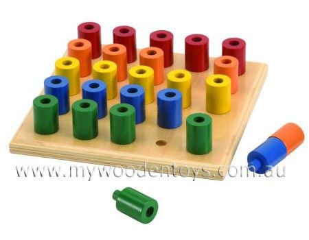 Stacking Wooden Peg Board Toy Educational Wooden Toys Wooden