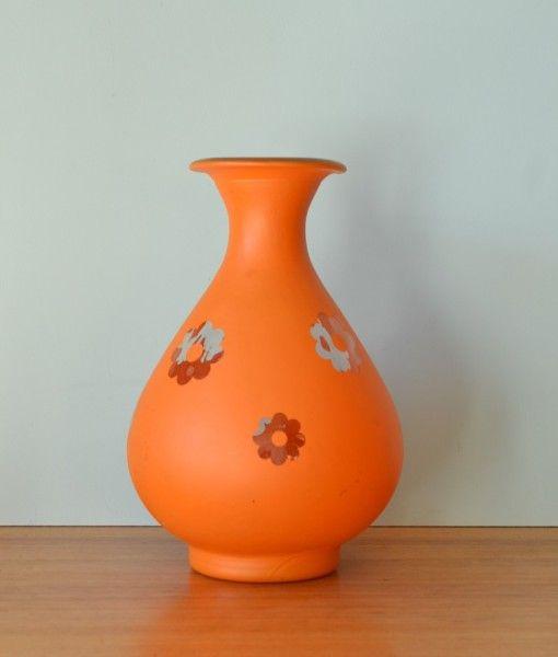 Retro Glass Spanish Vase Orange Kitsch Large Flowers 3195 Vintage