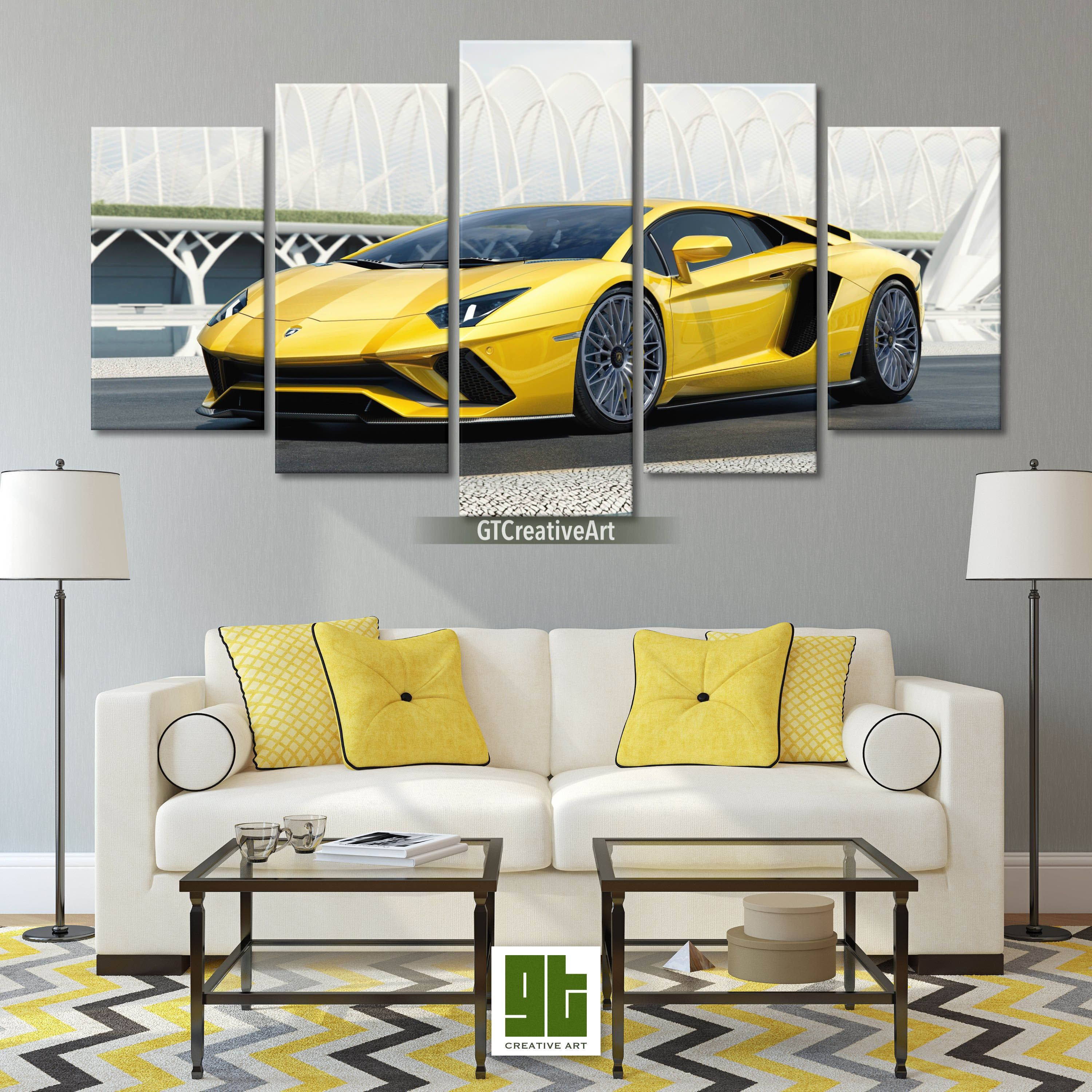Supercar Wall Art Golden Lamborghini Aventador S Print On Canvas Sport Car Framed Canvas Set Racing Gifts In 2020 Canvas Frame Custom Canvas Prints Canvas Prints