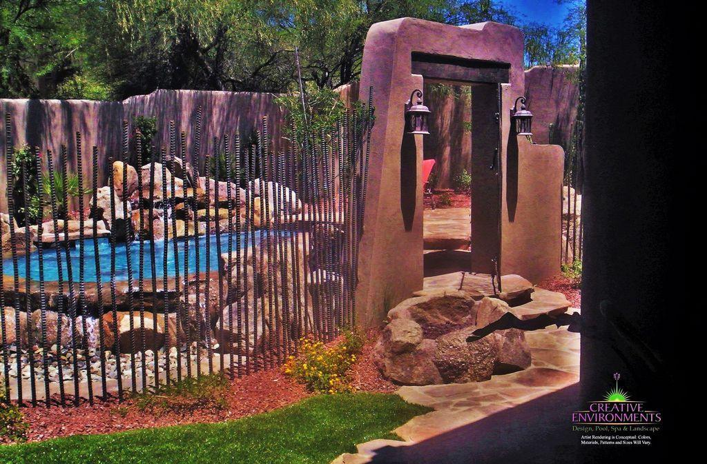 Southwestern Landscape/Yard with Pathway, exterior stone floors, Fence
