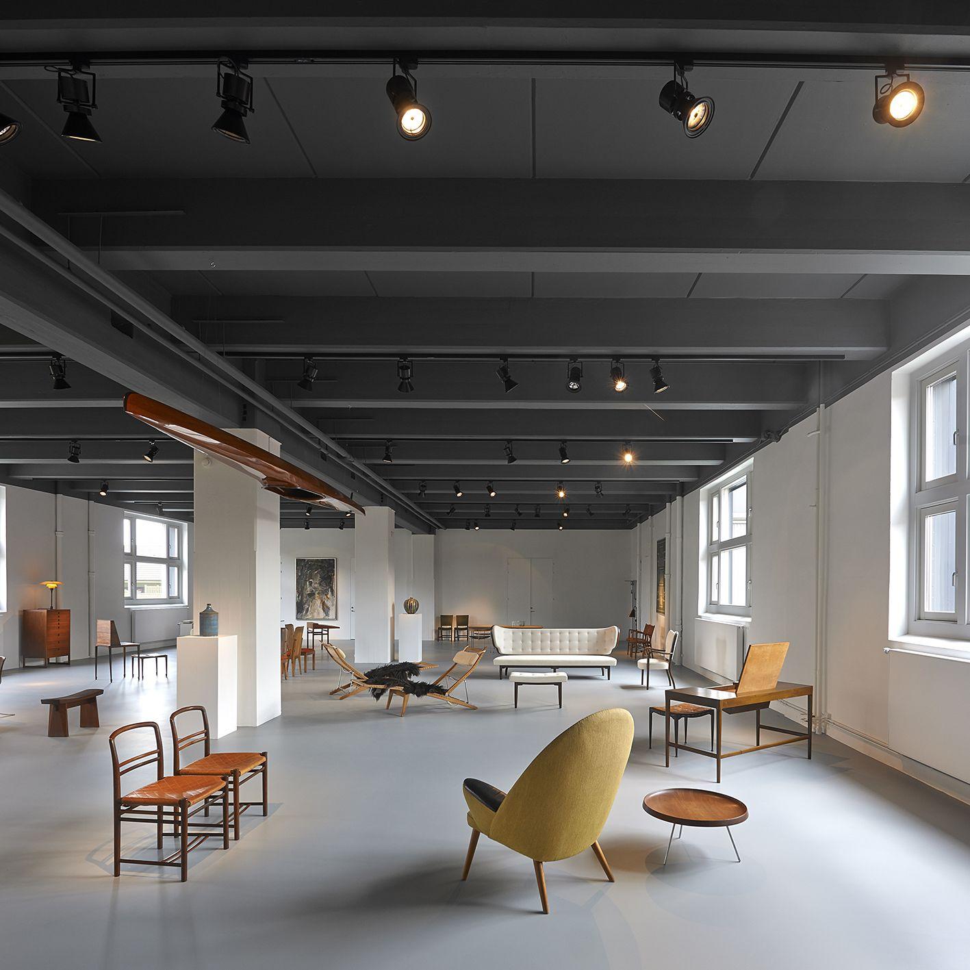 Dansk Møbelkunst Gallery - chairs by Arne Jacobsen - easy chair by Hans J Wegner - desk by Vestergaard Jensen