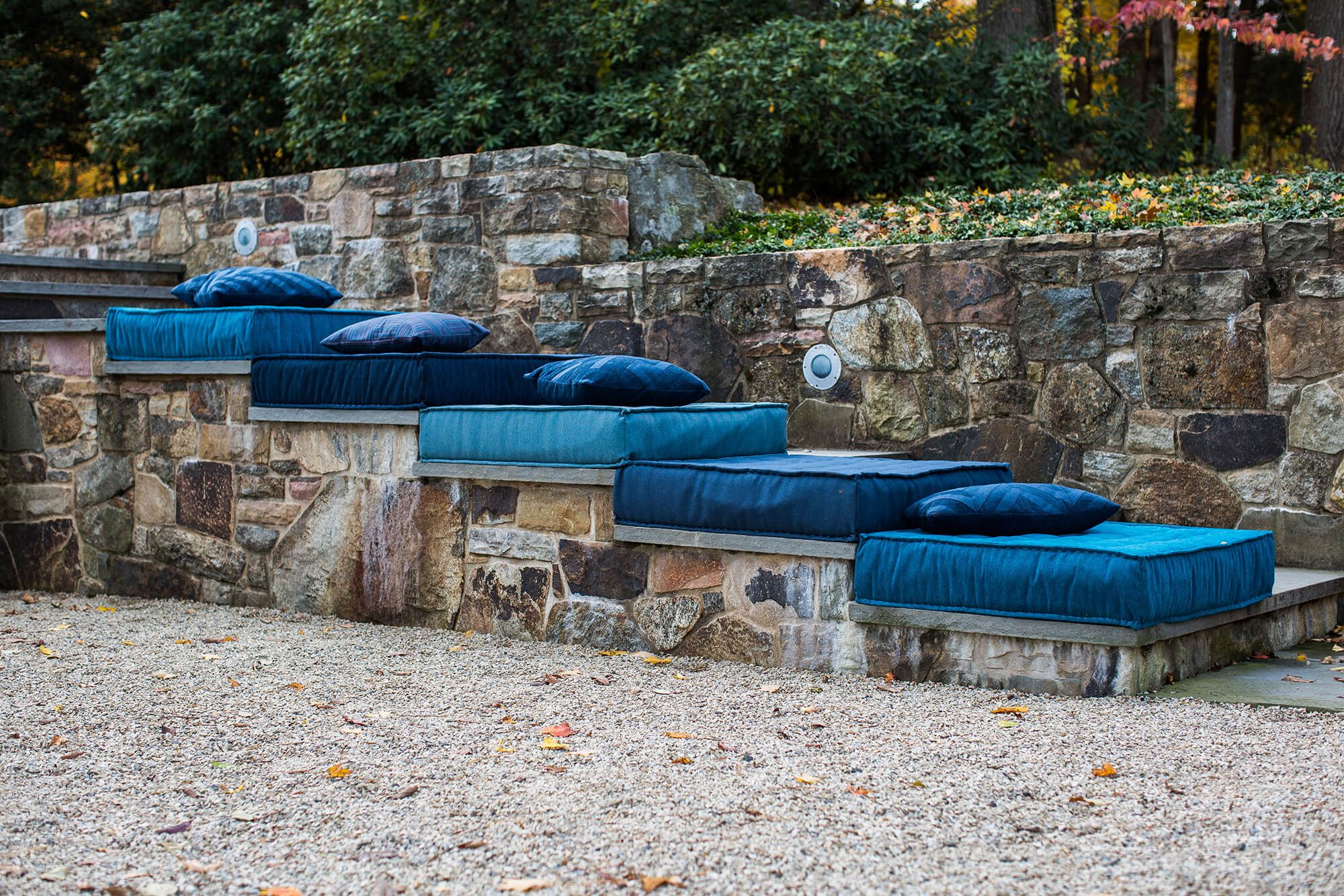 Blue Floor Cushions On Steps Outdoor Steps Outdoor Curtains