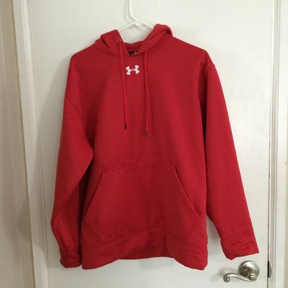 Red Under Armour Hoodie Offers welcome! Slight fray at top of sweatshirt as shown in 4th picture but other than that, it's in perfect condition! #hoodie #red #underarmour #redhoodie #sweatshirt #underarmourhoodie #underarmoursweatshirt #greatcondition #offerswelcome Under Armour Tops Sweatshirts & Hoodies