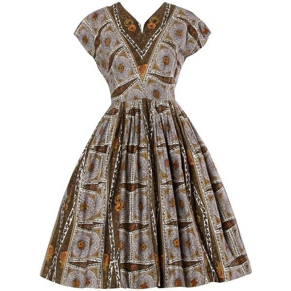 Preowned 1950s Vintage Screen Print Cotton Patio Dress With A Full...  ($425. Plus Size ...