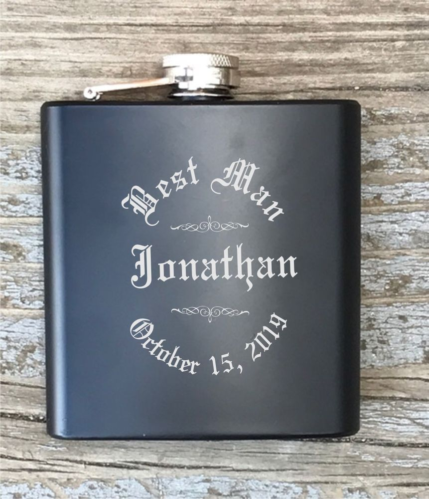 Wedding Gift From Groomsmen: Details About Personalized Best Man Flask Engraved Old