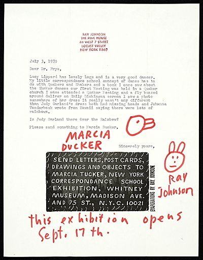 Ray Johnson Mail Art To Lucy R Lippard  On A Personal Note