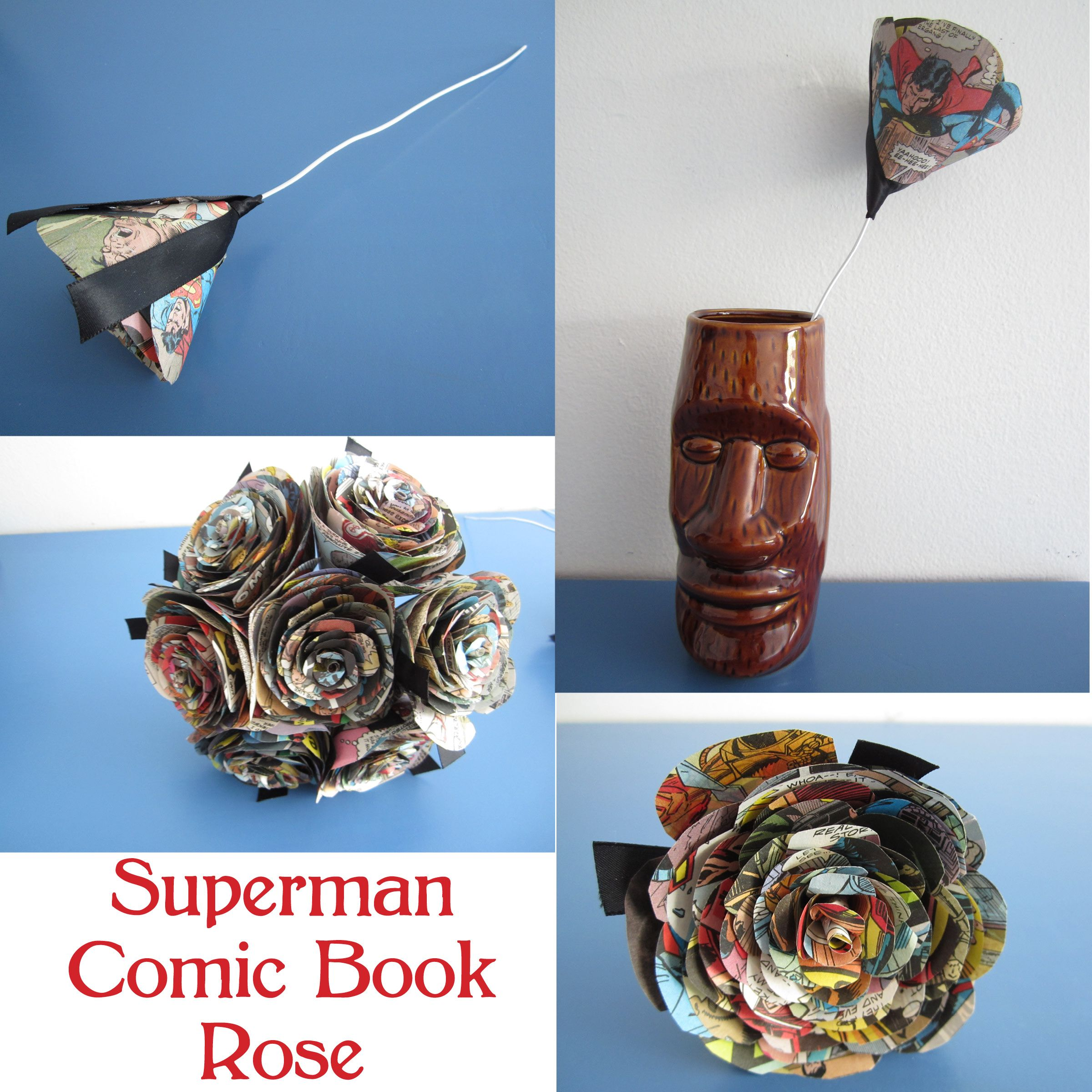 Superman Comic Book Rose Upcycled Paper Flowers From Books Sheet