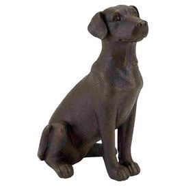 """Sitting dog statuette.   Product: DecorConstruction Material: PolystoneColor: BronzeDimensions: 16"""" H x 10"""" W"""