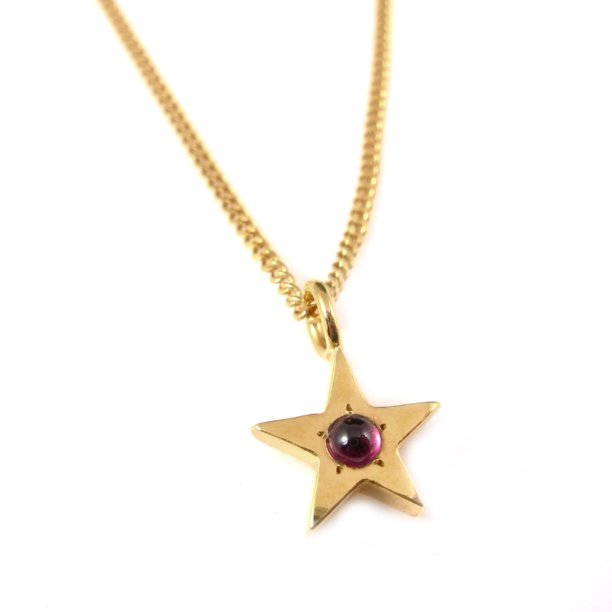 Garnet, gold star necklace