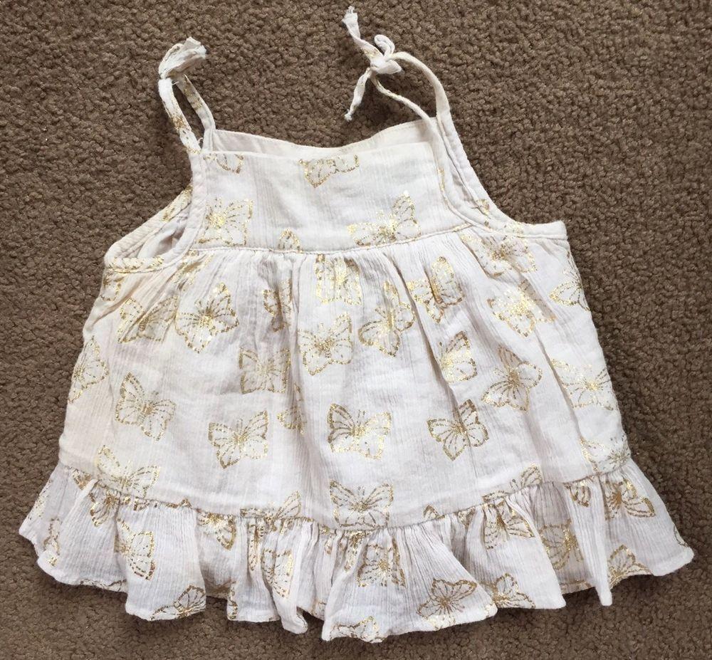 White lace apron ebay - Baby Gap Girl Beige Gold Metallic Butterfly Bahia Tank Top Shirt 6 12 Mo Ebay