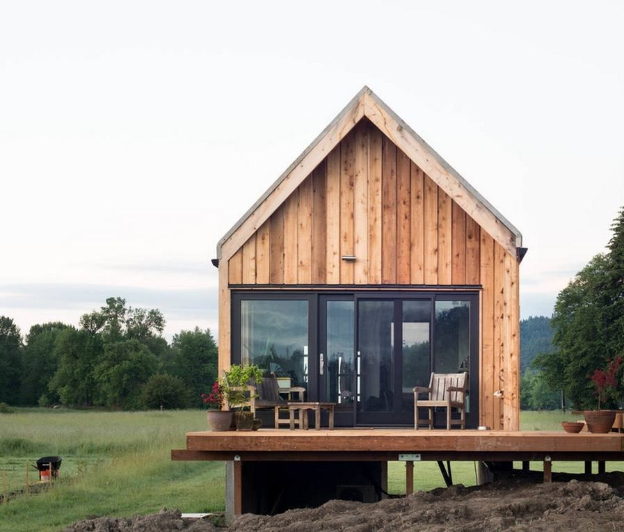 Glass should wrap around the edge. Additional dining space off of deck. Small Wooden & Tiny Cabin Vacation on Organic Farm Near Portland | Ideas for the ...