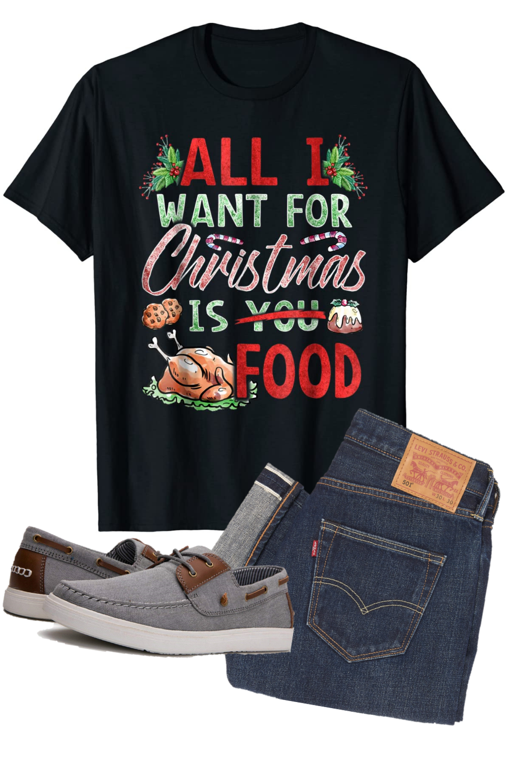 All I Want For Christmas Is Food T Shirt In 2020 Foodie Shirts Food T Funny Christmas Shirts