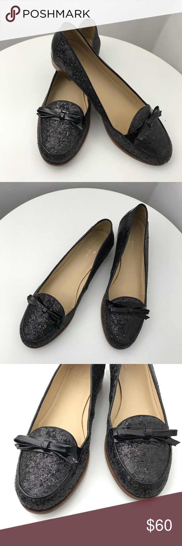 955ea8a36b45 KATE SPADE Cora black glitter loafers 9.5 Cute little party shoes!! Or wear  them