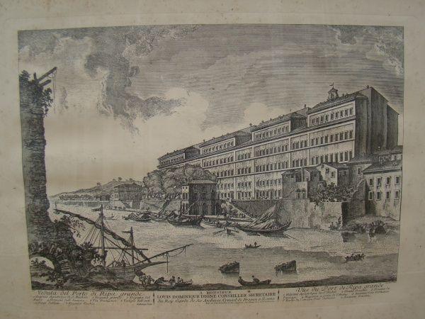 """Veduta del Puerto de Ripa Grande"" - Lithogravura - 59 cm x 74 cm; Emouldurado;"