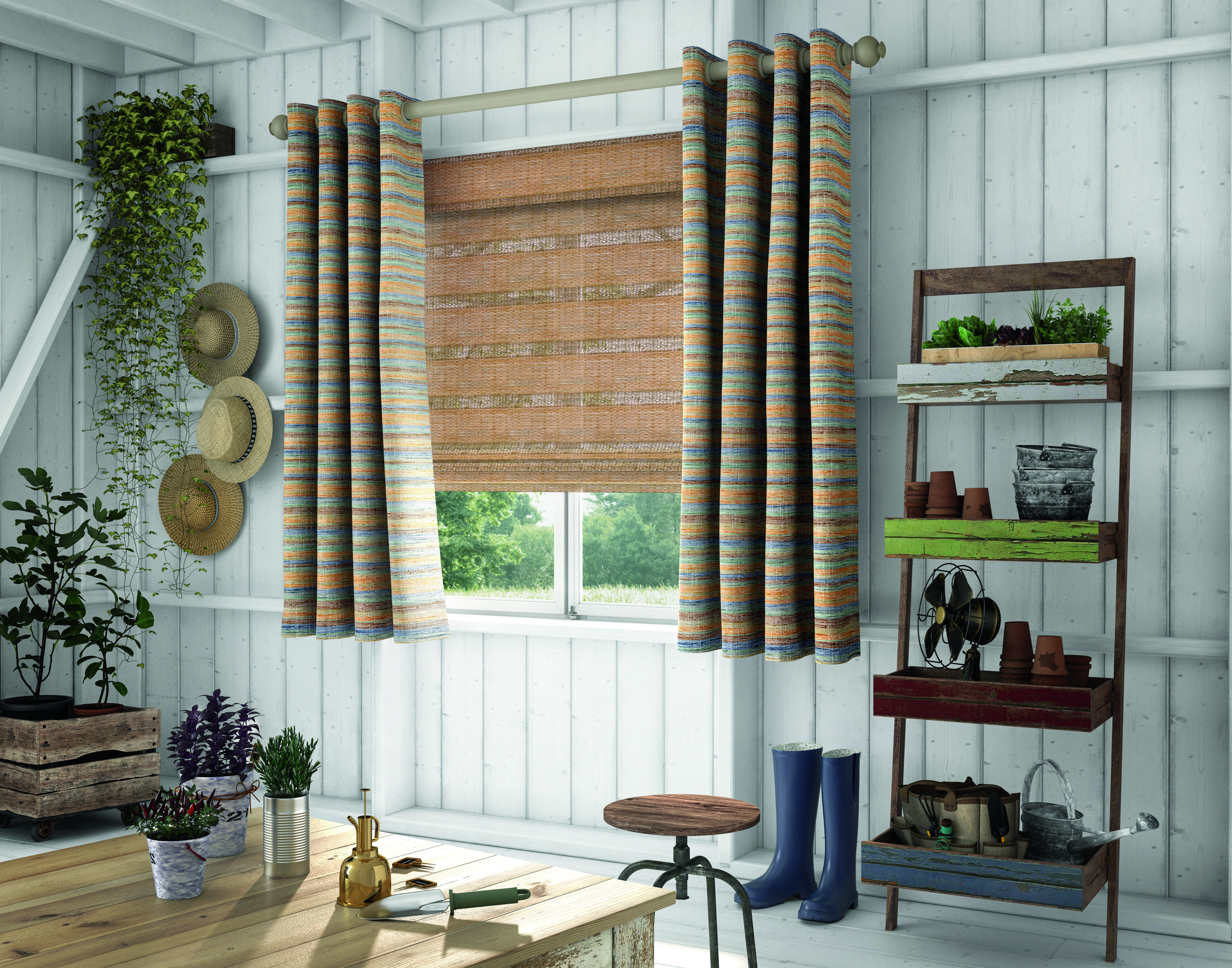 Stationary Soft Fashion Grommet Panels Pair with Woven