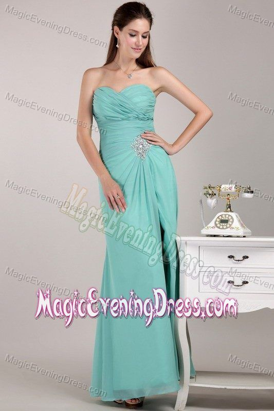 02567b3c30b Sweetheart Ruched Slitted Apple Green Evening Dress for Homecoming ...