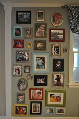 I love this look.  It reminds me of a wall in my grandmother's house that always facinated me as a child.  We have lots of old family photos, and I'd like to do this in our upstairs hallway when we get the walls painted.  A project for this year.