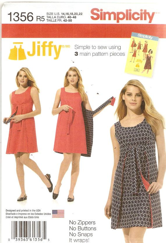 3c2ff62b73713 Womens Jiffy Reversable Wrap Dress Pattern Bust Size 36 30 40 42 44  Simplicity 1356 Sewing Pattern