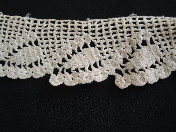 Antique Cotton Cream Color Hand Crochet Lace Trim by AnnasDream