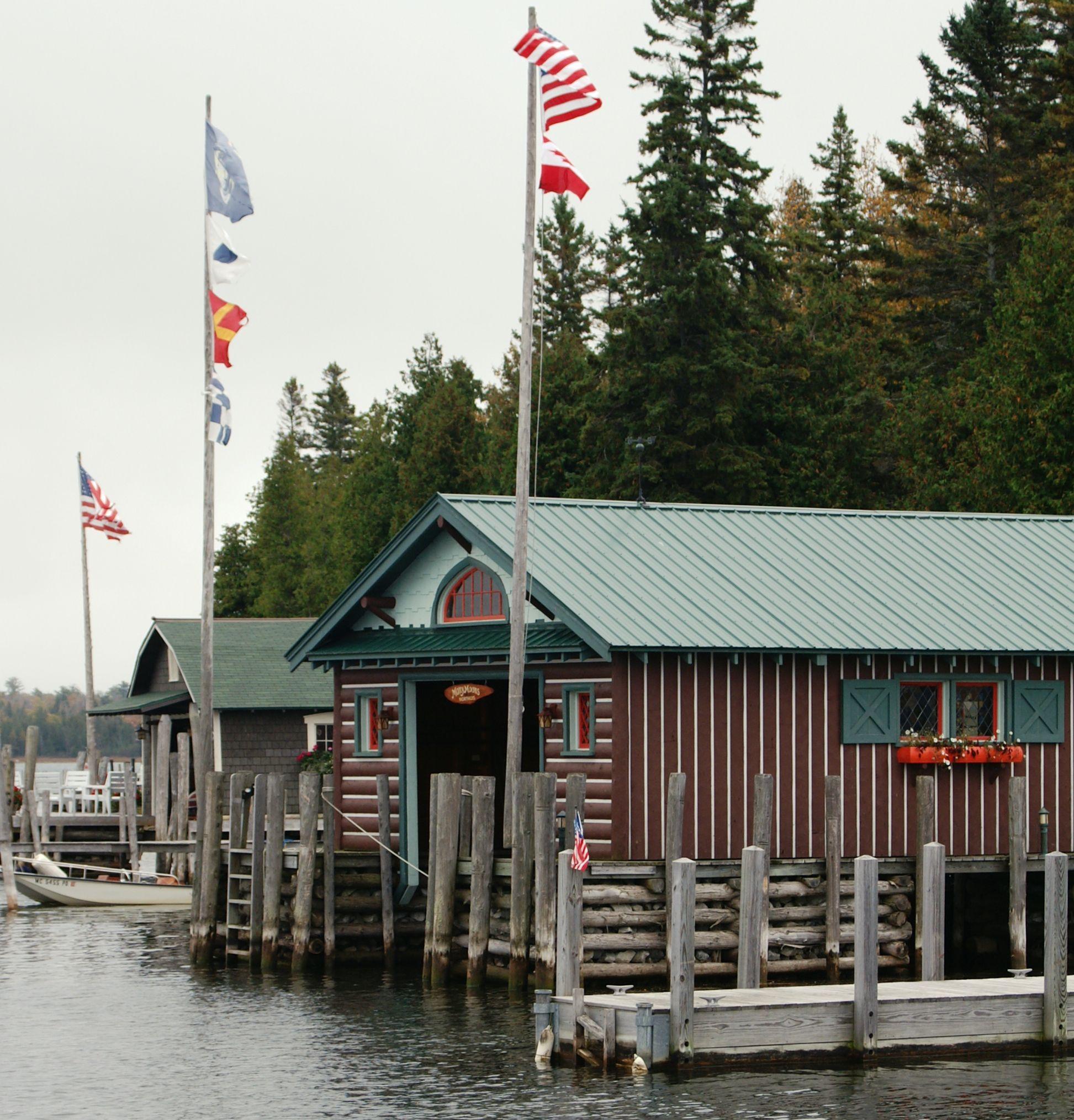 Lake House Love In Michigan: Boathouses In Cedarville Bay, Near Viking Boat Harbor