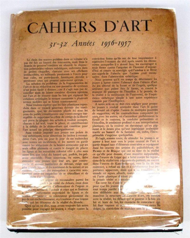 ANTIQUE BOOKS - $224.00 - Cahiers D'Art: 31-32 Annees 1956-1957 Hardcover January 1, 1957  #antiques #books #hardcover #cahiersd'art