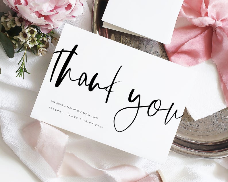 wedding thank you card modern personalized thank you
