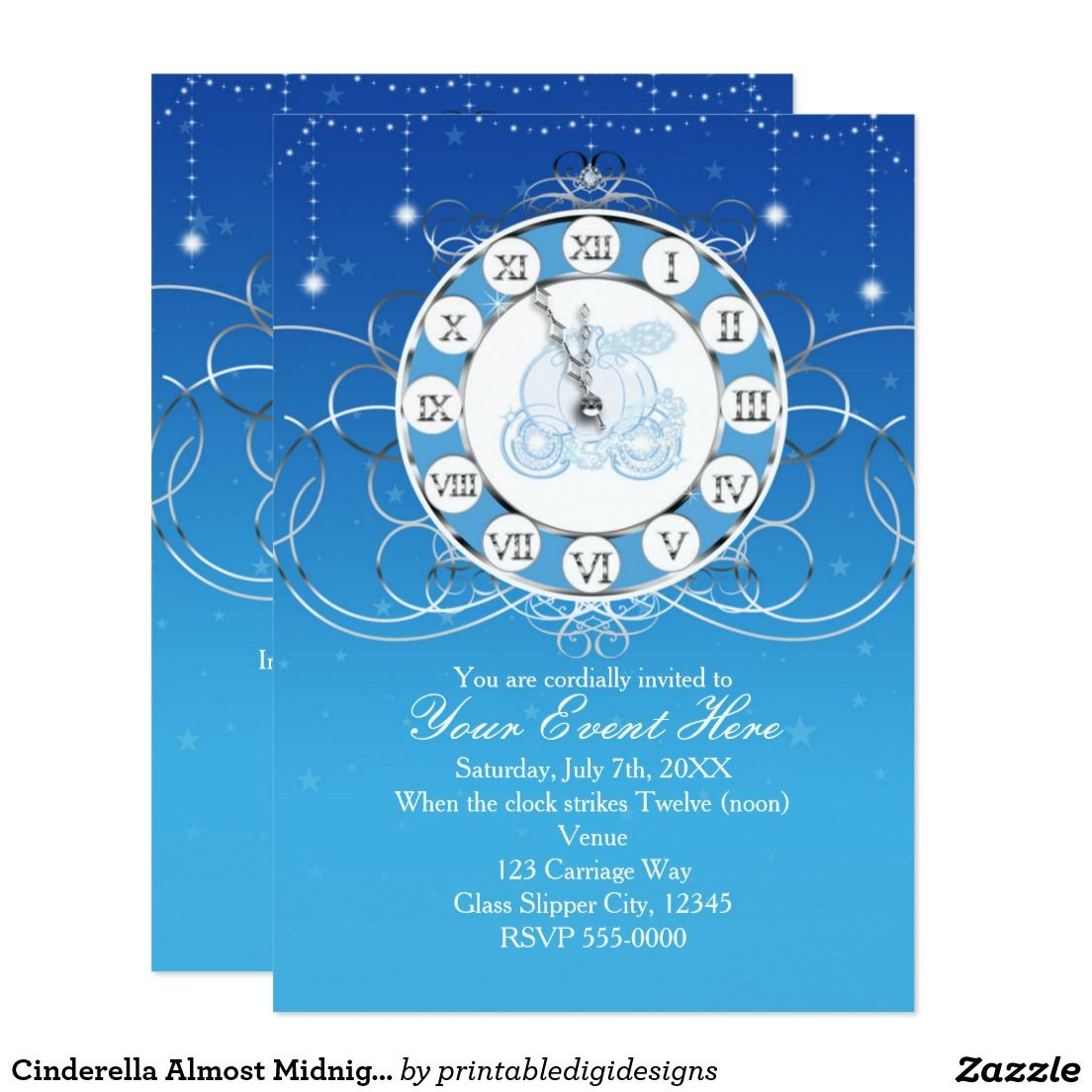 Cinderella Almost Midnight Silver Blue Invitation Disney - Birthday invitation zazzle