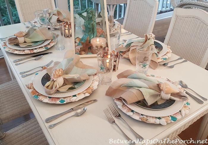 Nautical-Beach Themed Table Setting Shell Chargers Sailboat Flatware & Sailing With Mermaids   Nautical table Table settings and Flatware