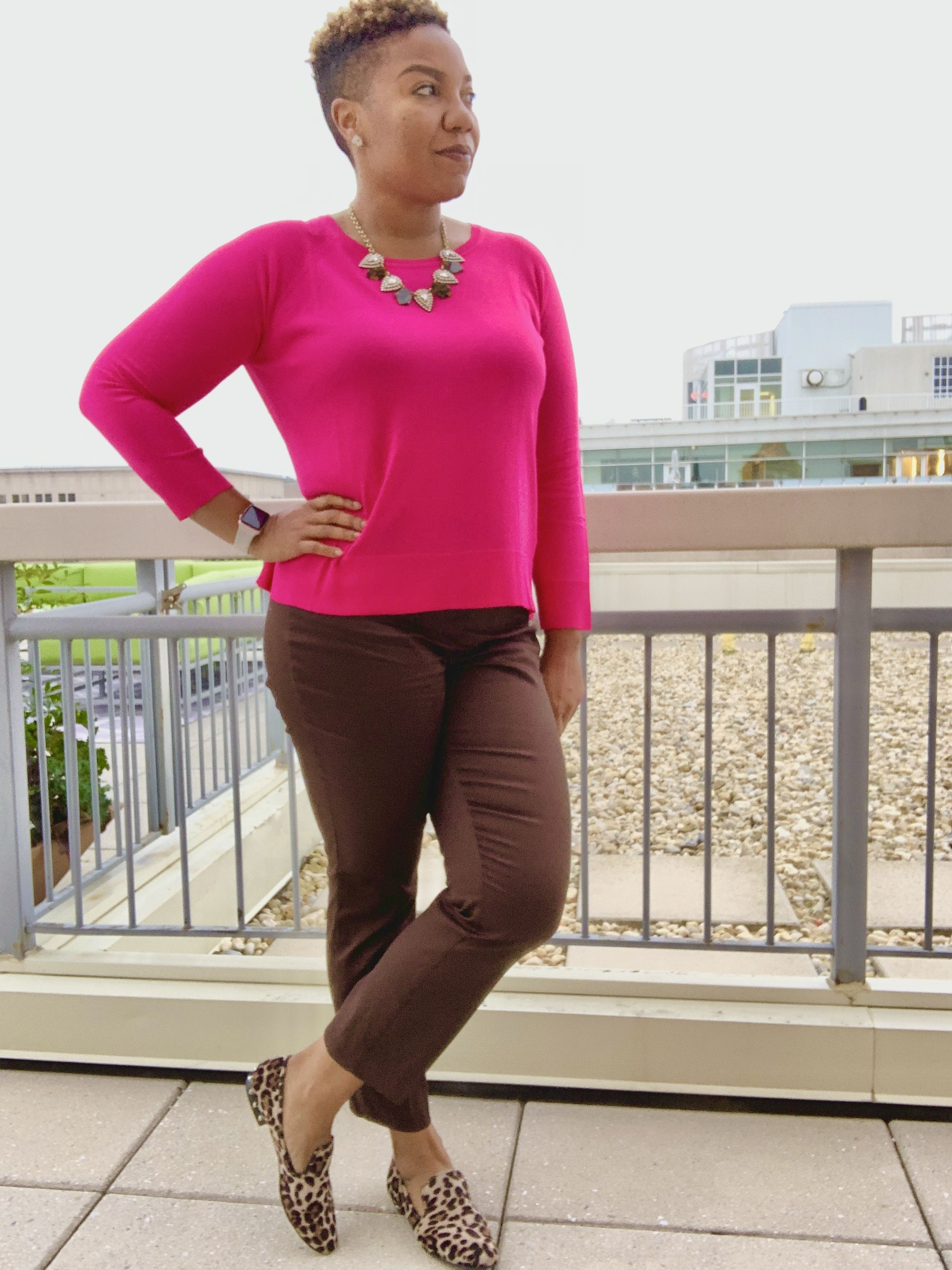Hot Pink Zara Sweater Brown Ankle Pants H M Leopard Flats Fall Outfit Ideas Outfit I Hot Pink Sweater Outfit Hot Pink Sweater Pink Sweater Outfit