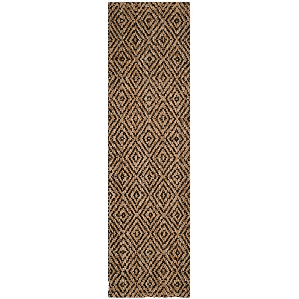 Safavieh Natural Fiber Natural Black 2 Ft X 12 Ft Runner Rug Beige Black Products Rugs Natural Fiber Rugs Rug Runner