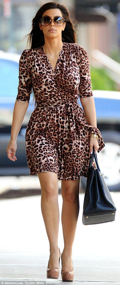 Kopy Kim! Caitlyn appears to be a fan of leopard print just like Kim (pictured right, in 2...