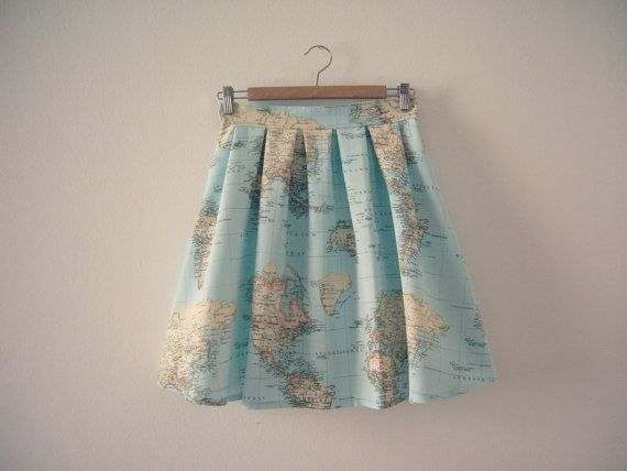 World map skirt map printed high waisted skirt in blue green world map skirt map printed high waisted skirt atlas print cotton skirt made to order gumiabroncs Image collections