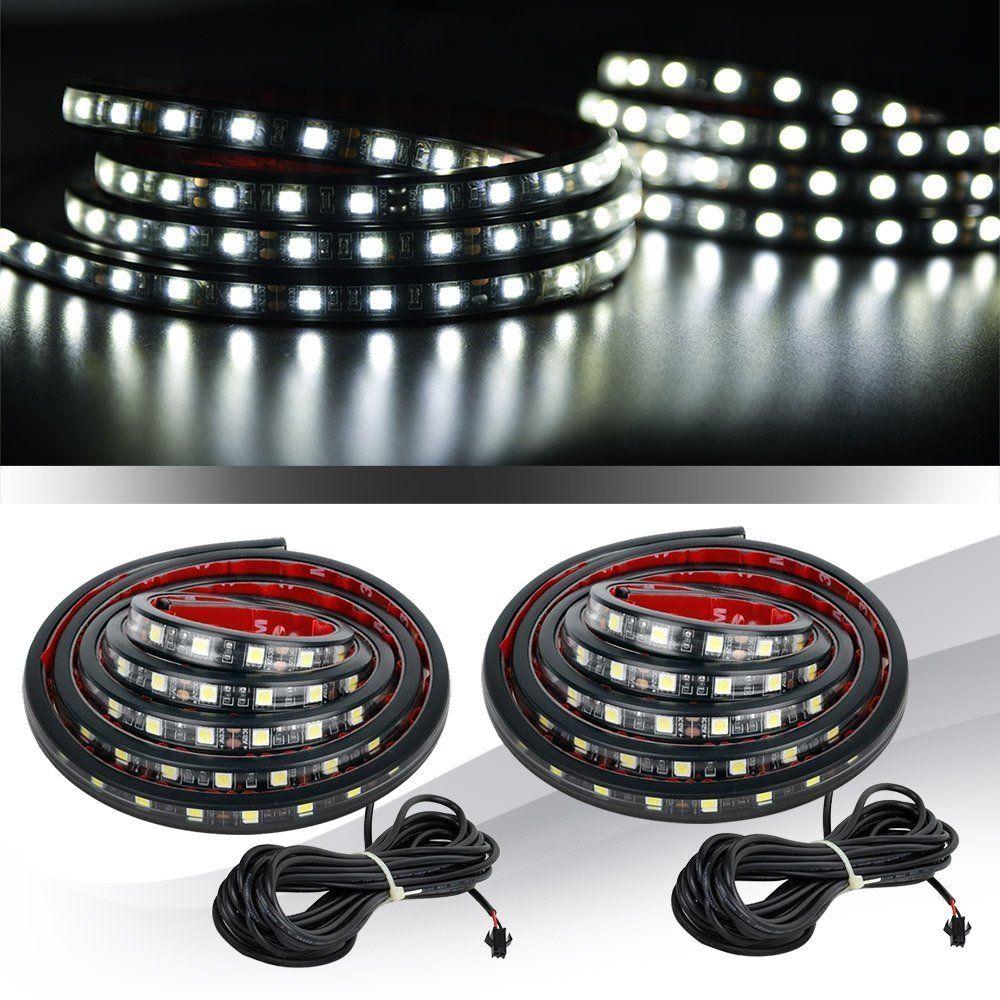 Amazon Com Mictuning 2pcs 60 White Led Cargo Truck Bed Light Strip Lamp Waterproof Lighting Kit With On Off Switch Fus Truck Bed Lights Truck Bed Work Lights