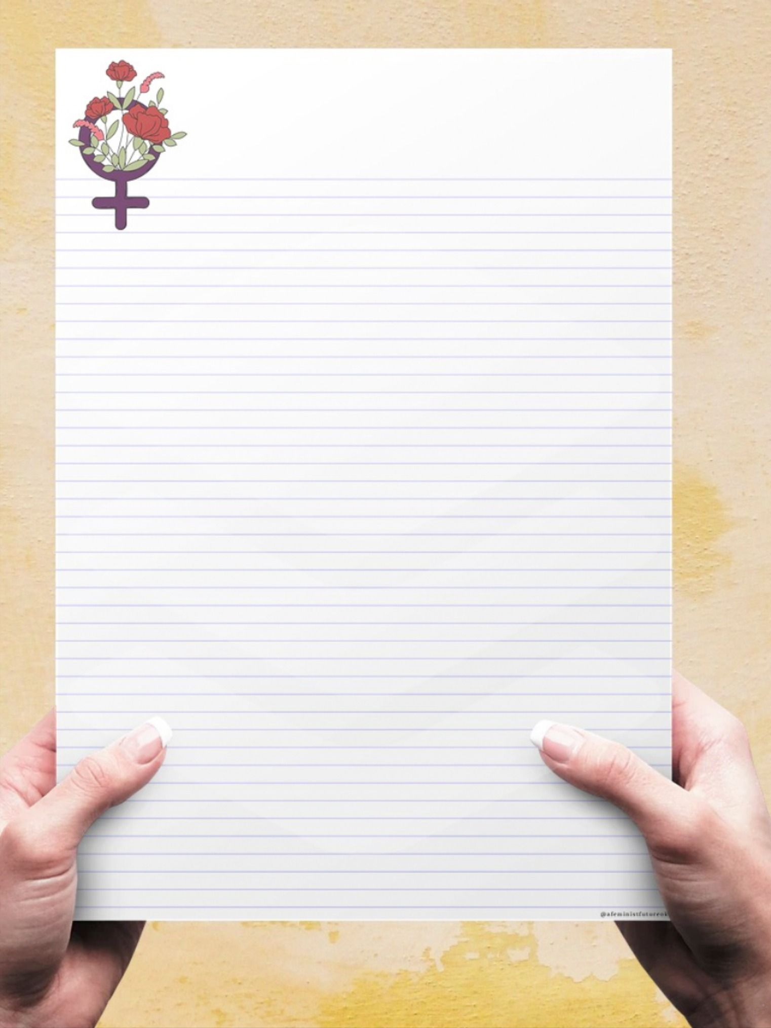 FEMINIST SYMBOL lined paper. Student note taking, writing