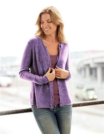 Light-weight cashmere cardigan sweater in pretty lilac. Perfect ...