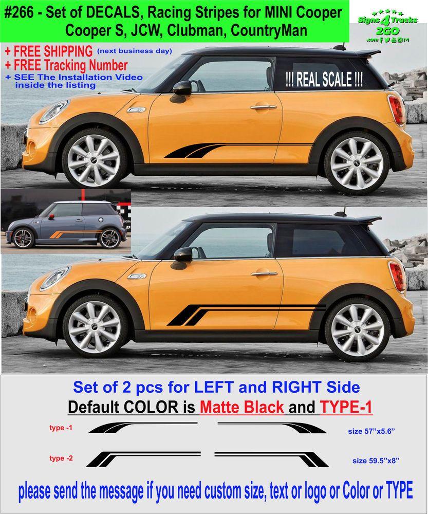 Mini One Mini Cooper S Side Car Stripes Vinyl Graphics Decal Sticker clubman
