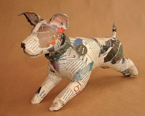 unique whimsical paper mache dog sculpture with collar custom