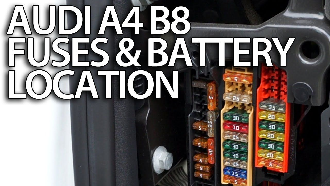 Where are #fuses and #battery in #Audi #A4 B8 (fusebox location, positive  terminal for jumpstart) #cars