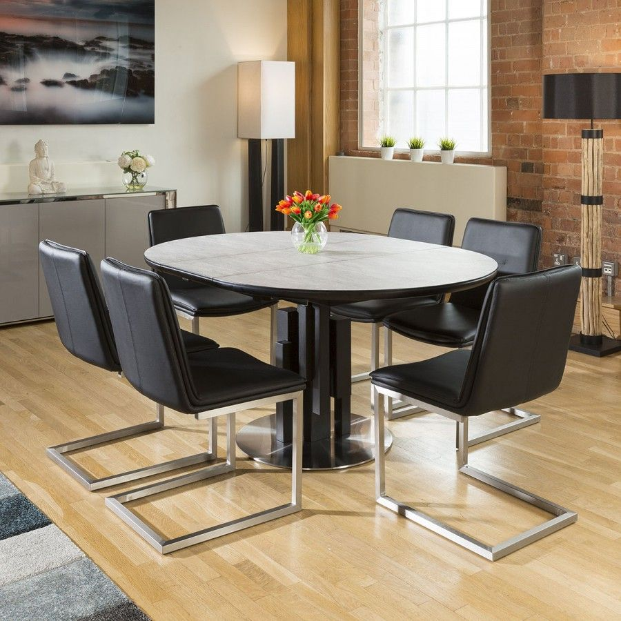 Round Extending Concrete Effect Dining Table 6 X Sleek Black