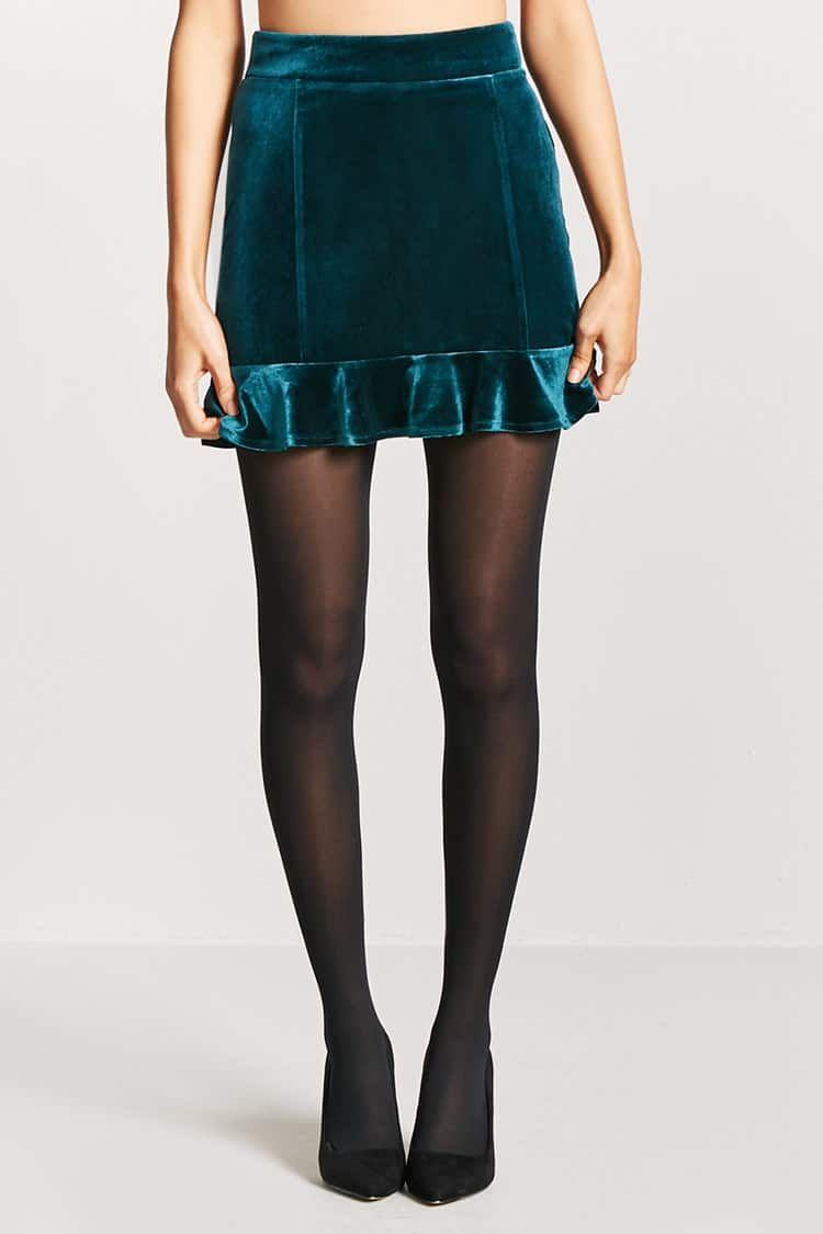f60f1374b Product Name:Velvet Ruffle Mini Skirt, Category:bottoms, Price:12.9 ...