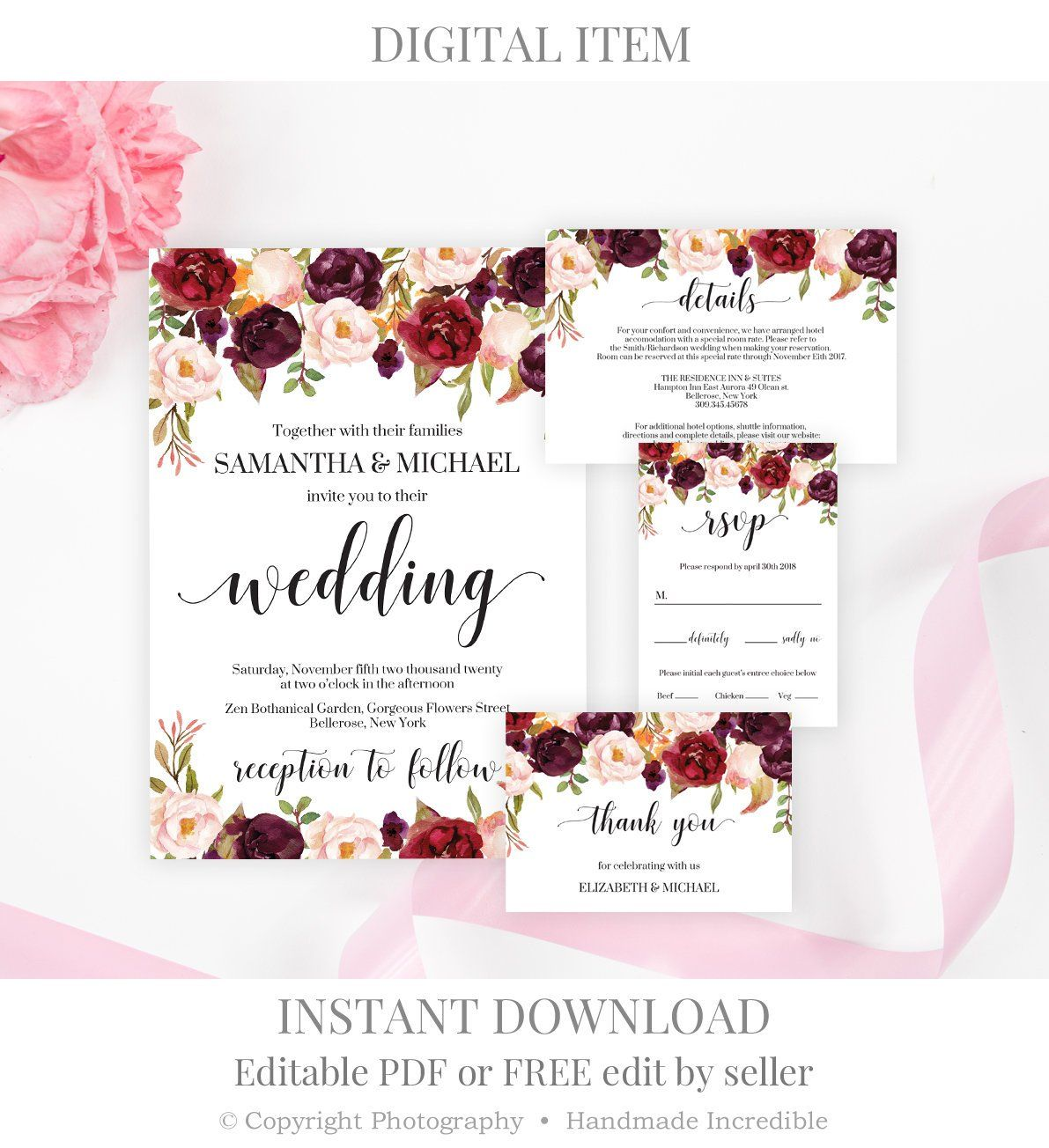 Burgundy Wedding Invitation Set Template Printable Floral Wedding Invi Wedding Invitations Digital Wedding Invitations Wedding Invitations Printable Templates