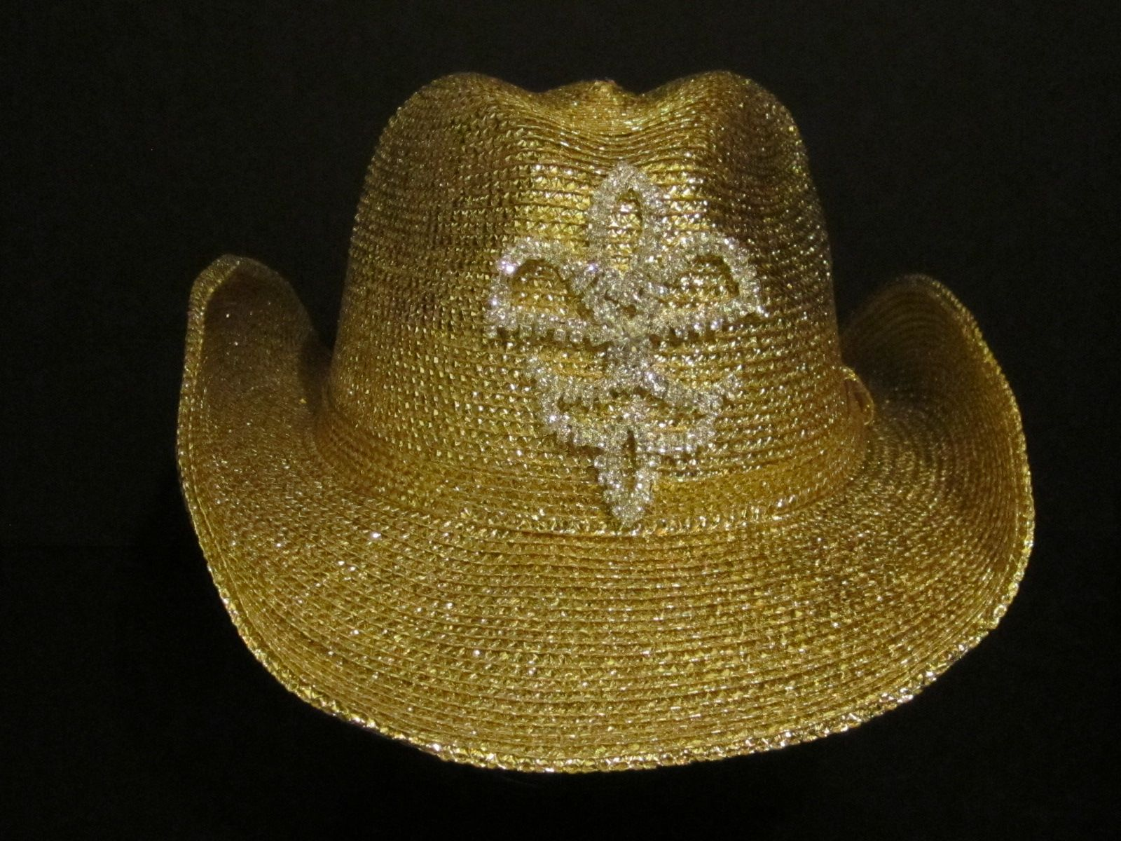 Gold cowgirl hat with a hand sewn rhinestone Fleur De Lis -  65.00 For more  info please contact - Shoot for the Moon Jewelry Designs (850) 230-9983 ... b3edbeef98b