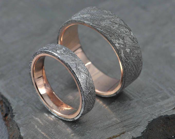 Rose Gold Wedding Ring Set Engagement Gibeon Meteorite Diamond