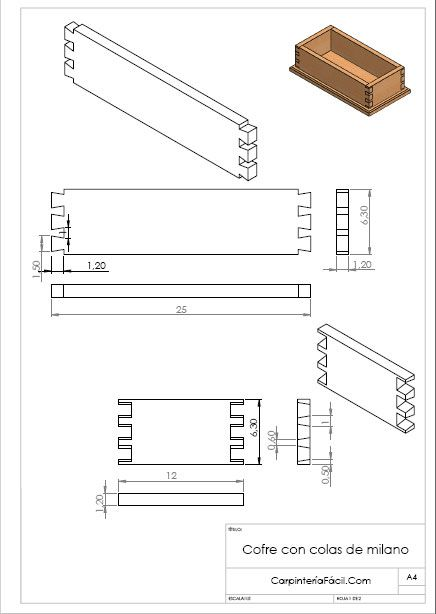 Diagrama del cofre con colas de milano madera ensambles for Planos de carpinteria de madera