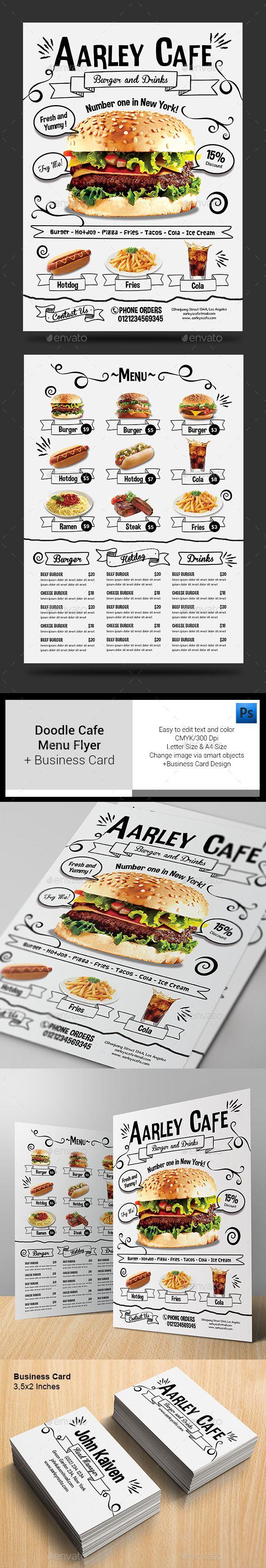 Doodle Cafe Menu + Business Card Template #design Download: http ...