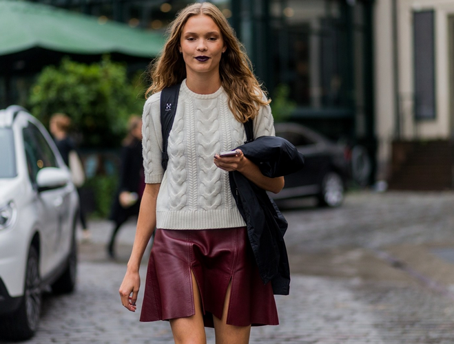 Knitwear, Leather Skirt and Backpack Womens Street Style - Photo by Christian Vierig