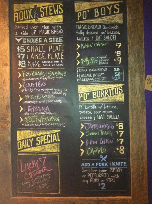 Blackboard menu cajun creole in columbus oh food