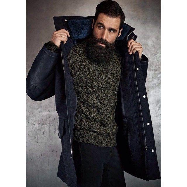 Luke Ditella - full thick black beard and mustache bushy dark beards bearded man men mens style model fall winter fashion clothing coat sweater #beardsforever