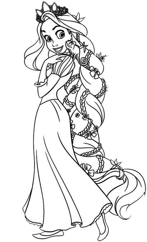 Rapunzel Amazing Hair Of Rapunzel Coloring Page Amazing Hair Of